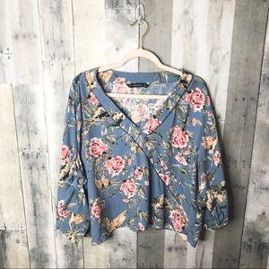 Zara Blue Vintage Floral Blouse